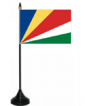 Seychelles Desk / Table Flag with plastic stand and base.